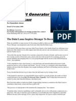 Media Release.The Dalai Lama Inspires Stranger to Become an Author.11Nov09