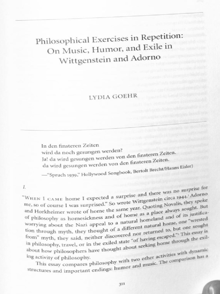 Philosophical Exercises in Repetition: On Music, Humor, and