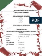 RESISTENCIA DE MATERIALES - INFORME N° 1