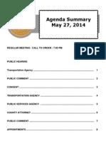 Agenda Summary 5-27-2014