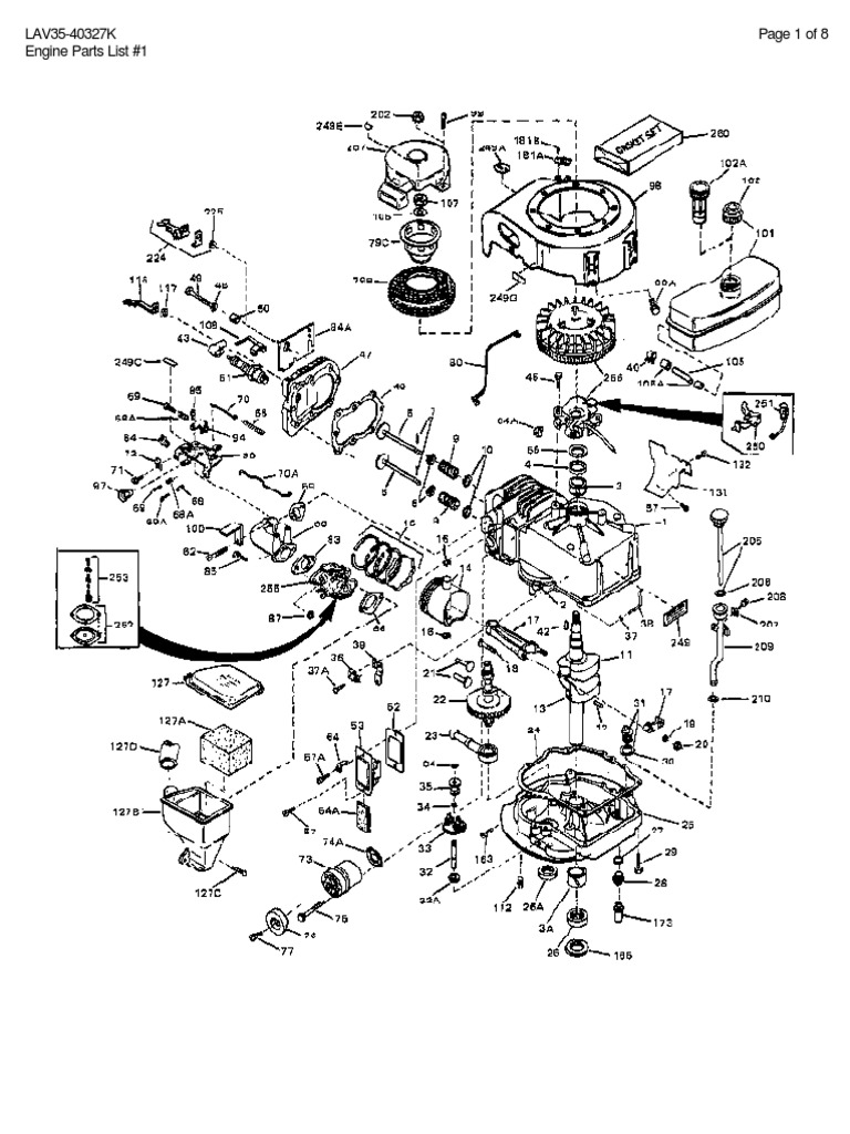LAV35-40327K Page 1 of 8 Engine Parts List #1