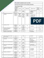 NUST CPD Activities Calendar 2014