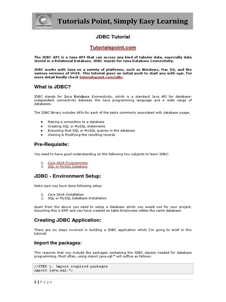 Www.tutorialspoint.com Jdbc Jdbc Tutorial | Sql | Databases