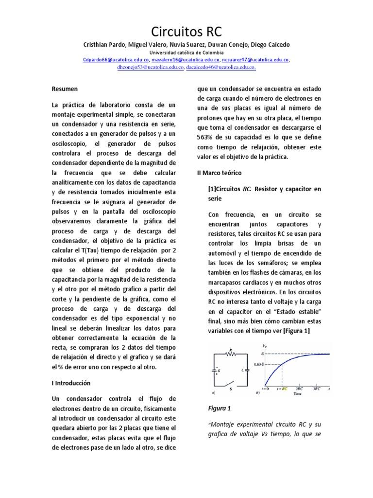 Circuito Rc : Informe circuito rc