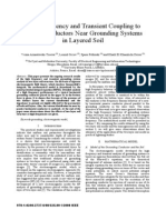 High Frequency and Transient Coupling to Pasive Conductors Near Grounding Systems in Layered Soil