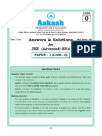 JEE Advanced 2014 Question Paper Solutions by Aakash Institute