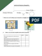 Evaluación de Historia. y Geografia 2ª Año
