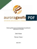 Estudios Geologicos El Espejo (Palenque, Chiapas)