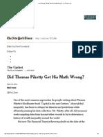 Did Thomas Piketty Get His Math Wrong
