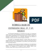 Rubrica Expresion Oral 5o. y 6o. Basico