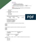Evaluación  de Matemática decimales 5°