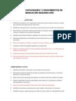 Cartel de Capacidades y Conocimientos de Comunicación Segundo Año