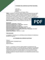 Proyecto de Ley Organica de Servicio Electrico Nacional