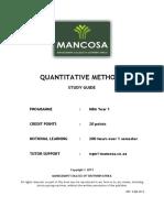 MBA 1 Quantitative Methods January 2013