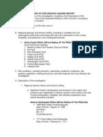 Content of Site-Specific Hazard Report for PEZA
