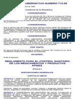 Reglamento Para El Control Sanitario de Los Medicamentos y Productos Afines