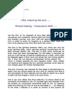 8161 Fully maturing the Soul .... Miracle Healing - Compulsory Faith ....