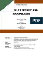 Syllabus Nursing Leadership and Management