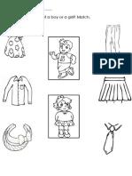 English Worksheet 1 (Clothes)