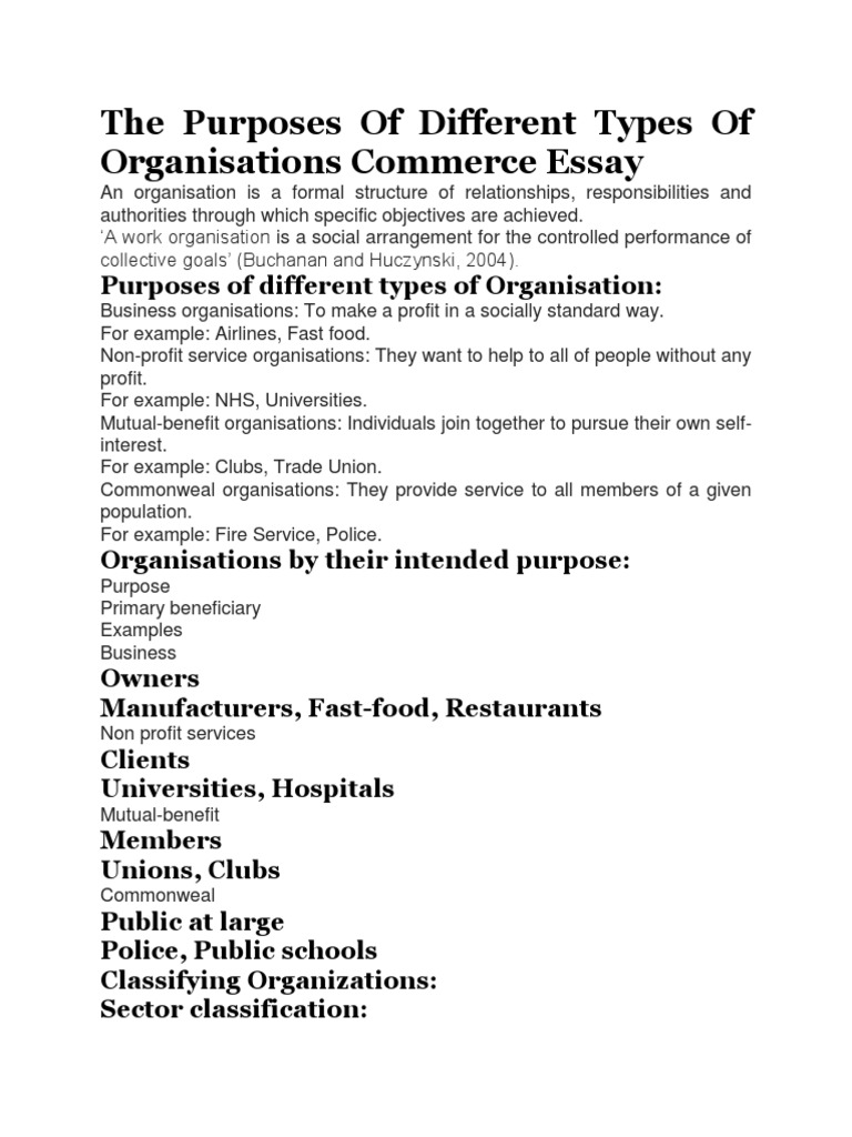 self organization essay English composition 1 this page explains some of the major aspects of an essay that are given special attention when effective organization is also.