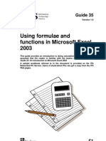 Using Formulae and Functions in Microsoft Excel 2003