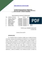 Ejemplo de Informe Servicio Comunitario