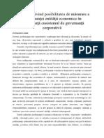 Aprecieri privind posibilitatea de măsurare a performanţei entităţii economice în concordanţă cusistemul de guvernanţă corporativă