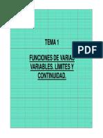 Tema 1 Funciones de Varias Variables. Limites y Continuidad