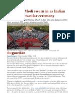 Narendra Modi Sworn in as Indian PM in Spectacular Ceremony