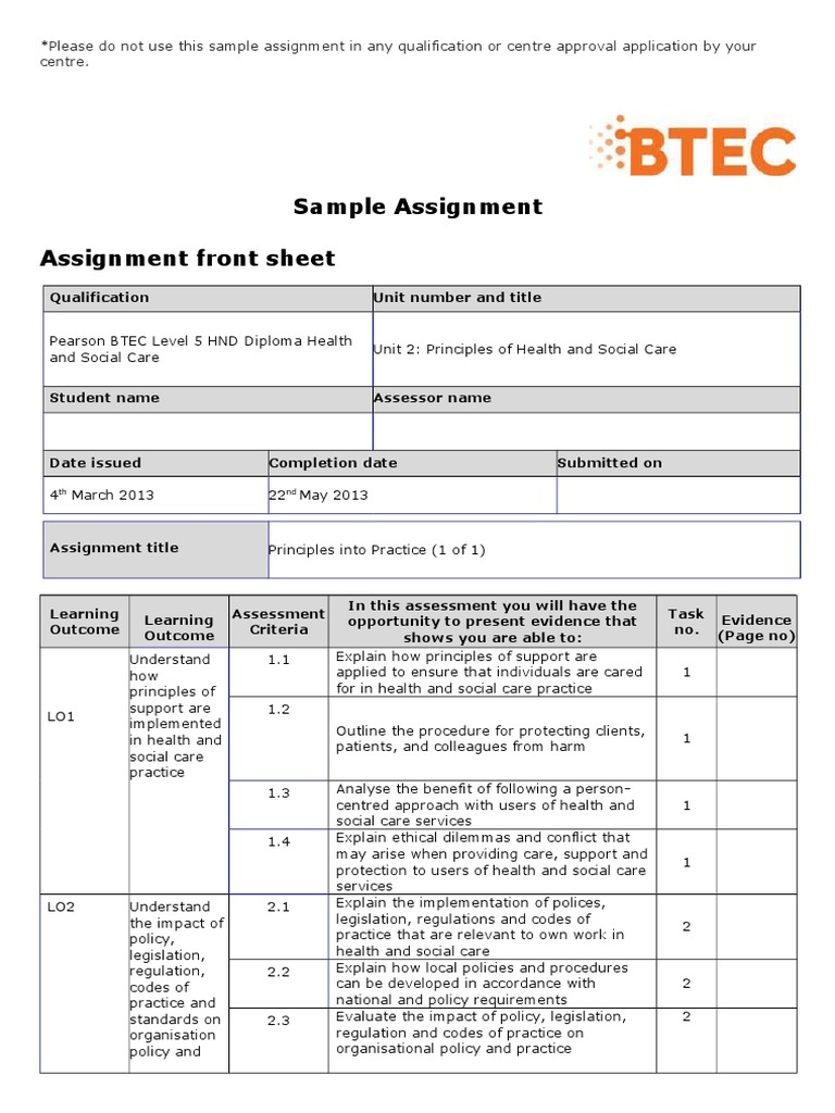 Example of a completed btec summative feedback sheet by.