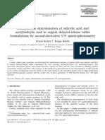 Simultaneous Determination of Salicylic Acid and Acetylsalicylic Aci