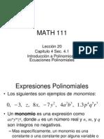 Leccin 20 Introduccin a Polinomios y Ecuaciones Polinomiales 41 1225395