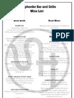 Sheepherder Wine List