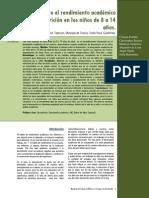 Relacion Entre El Rendimiento Academico y La Desnutricion 8 a 14 Años