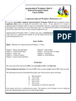 apprenticeship  workplace math 11 - course outline