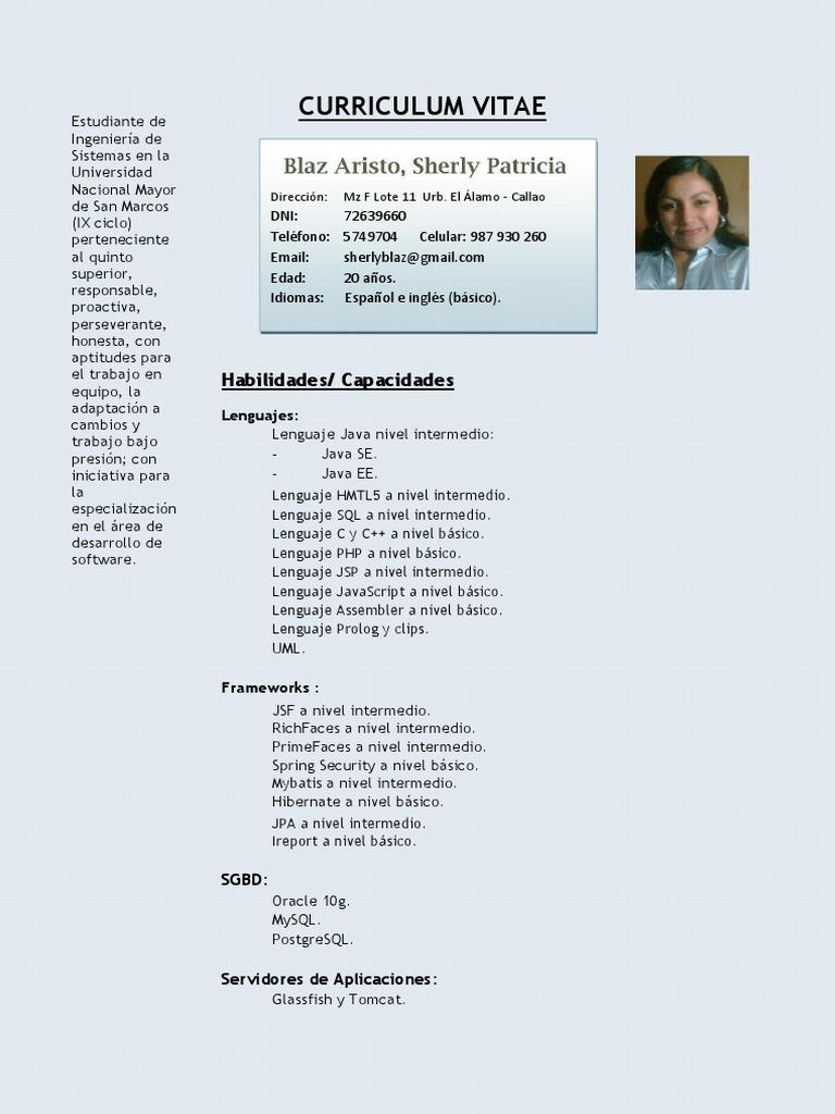 Cv - Sherly Blaz Aristo Unmsm (1)
