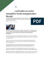 20-05-2014 EL FINANCIERO - Contratos privados en sector energético serán transparentes, Bernal.