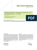 Metaphernforschung in Der Kognitiven Psychologie Und in Der Sozialpsychologie