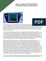 Dernières Nouvelles A propos de Nintendo   Propre   portable  et  Premier  Nintendo 3DS Jeux    Activités d'évaluation