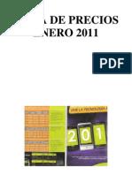Lista de Precios Enero 2011 Modelos Simulacion