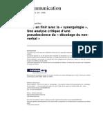 La Synergologie Une Analyse Critique d Une Pseudoscience Du Decodage Du Non Verbal