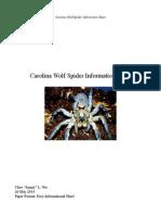 Carolina Wolf Spider Information Sheet