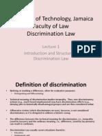 Discrimination Law, Lecture 1