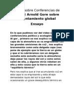 Video Sobre Conferencias de Albert Arnold Gore Sobre Calentamiento Global