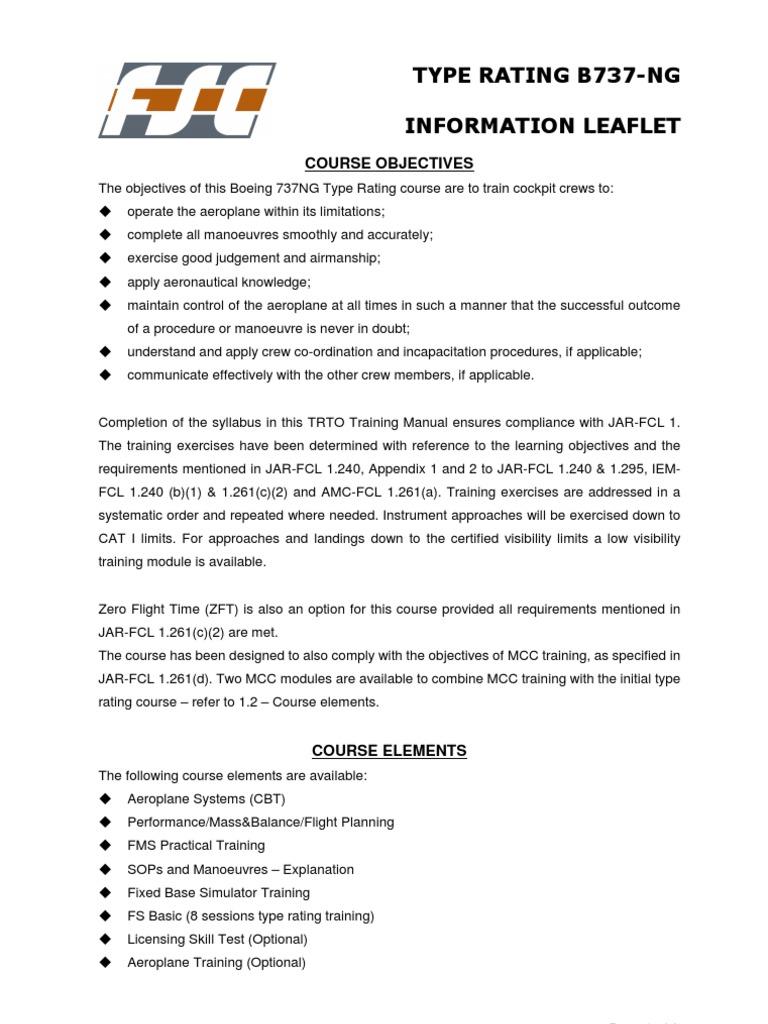 FSC B737-NG Type Rating Training | Flight Instructor | Simulation