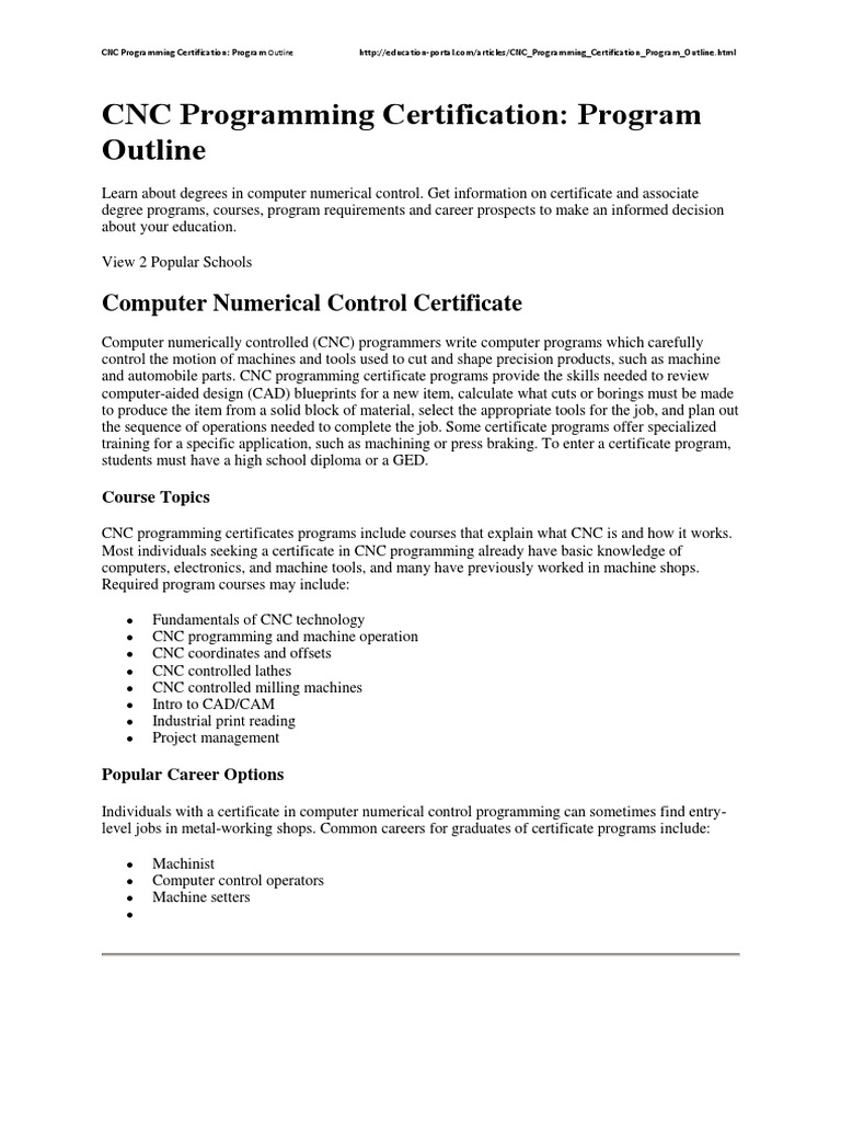 Cnc Programming Certification Numerical Control Academic Degree