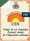 Projet de Loi Organique Portant Statut de l'Opposition Politique
