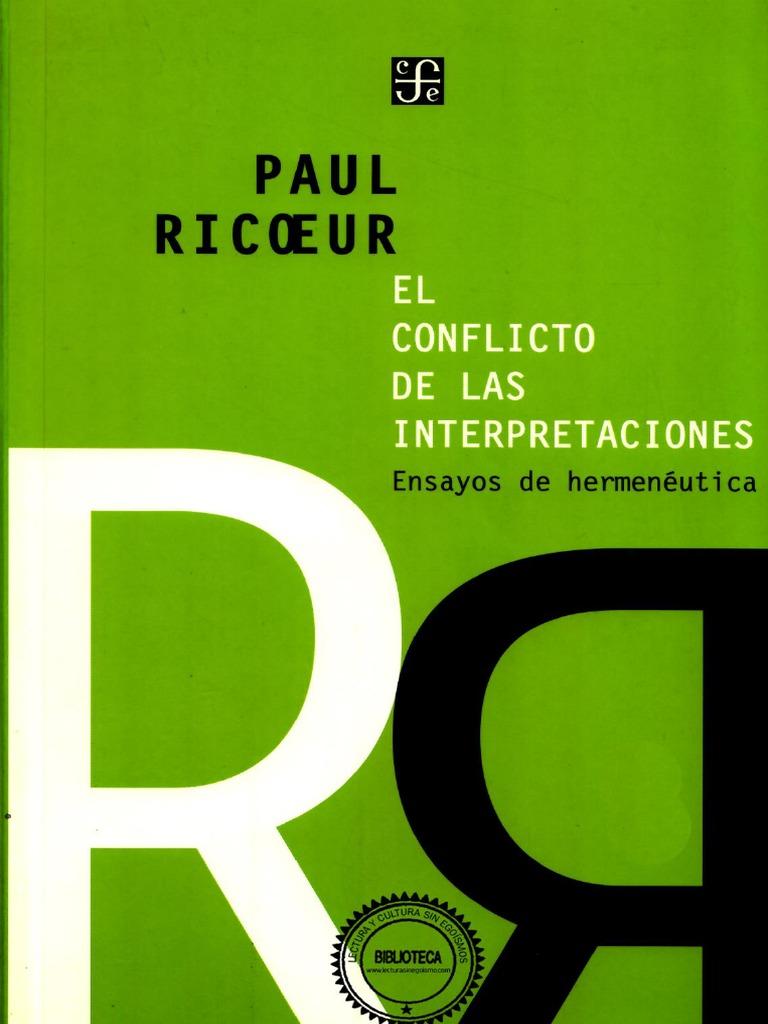 Paul Ricoeur El Conflicto de Las Interpretaciones | Economias | Negocios
