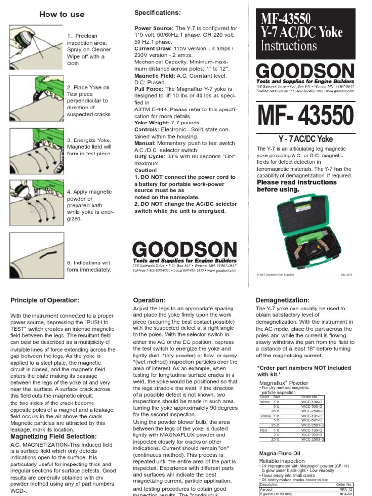 Goodson Magnaflux Y7 Manual | Switch | Powder (Substance)