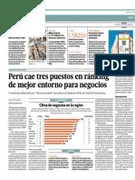 Perú Cae 3 Puestos en Ranking Mejor Entorno de Negocios_El Comercio 27-05-2014